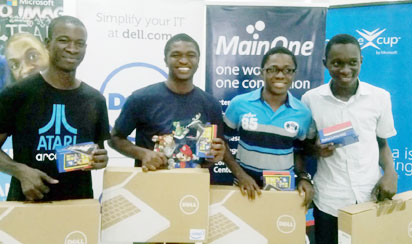 TEAM NIGERIA @ IMAGINE CUP: Members of the Team LifeSaver — the four geeks representing Nigeria at Microsoft's Imagine Cup — From left: Akinlaja Solomon, Oluwole Michael, Afolabi Olamide and Adewale Adeyinka at the presentation of prizes to them as national winners of the Microsoft Imagine Cup Competition in Lagos before their departure to Russia. Photo: EMEKA AGINAM.