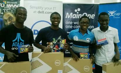 From left: Akinlaja Solomon, Oluwole Michael, Afolabi Olamide and Adewale Adeyinka  at the presentation of prizes to Team Lifesaver, National Winners of the Microsoft Imagine Cup Competition held in Lagos before their departure to Rusia. Photo By EMEKA AGINAM
