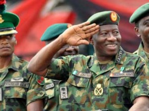 President Goodluck Jonathan (centre) inspecting parade during the Nigerian Army Day Celebration in Abuja On Saturday (6/7/13)