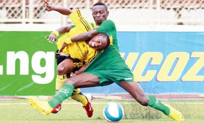 DO OR DIE AFFAIR: A typical scene  from the Nigerian league.