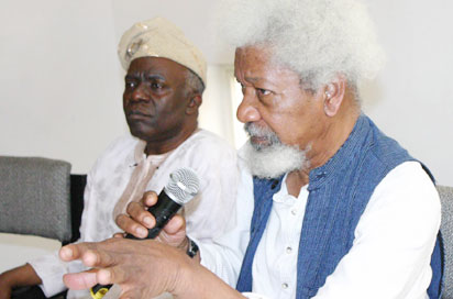 Prof Wole Soyinka brief the World press on the state of the Nation and also the Crisis in the River state House  of Assembly in Lagos yesterday    Px right show Prof Wole Soyinka briefing the press while Mr Femi Falana looks on at the occasion    Px  Biodun  Ogunleye