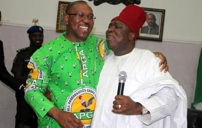 *RECONCILIATION: Governor Peter Obi of Anambra State (left) and Chief Victor Umeh, Chairman, All Progressives Grand Alliance, at their reconciliation in Awka, yesterday.