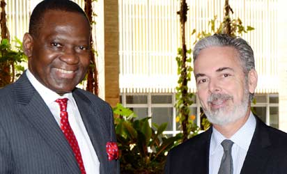 Minister of Foreign Affairs, Amb. Olugbenga Ashiru (l) with his Brazilian counterpart, Mr Antonio De Aguierpatriota,during a bilateral meeting in Brazil