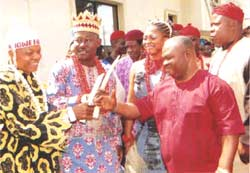 His Royal Highness, Eze Dr John Nwosu Asuwaju Ndi Igbo of Mushin Land;Igwe Sunywhite Obiaku Eze Diora Nma 111 of Ojo;  Chief Solomon Ogbonna,Chairman BOT AAF, at the launching of Aguene Art Foundation, Ajah, Lagos.