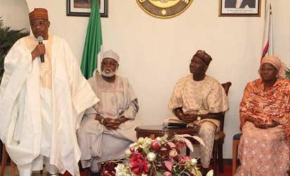 Ibrahim Babangida and General Abdulsalam Abubakar  during a condolence visit to Governor Babatunde Fashola