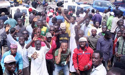 Protesters at Ojubode junction in Ikorodu