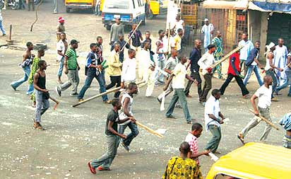 *Hoodlums on rampage during an Isemo  festival