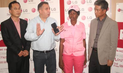 From left: GM, LG Service, LG Electronics HQ, Mr. Dongjun Bae; Managing Director, Fouani, Nigeria Limited, Mr. Mohammed Fouani; LG Pink Service Technician, Miss Titilope Sukurat Okuniyi and General Manager,LG Service, LG Electronics West Africa Operations, Mr. Weolwoo Choi during the official unveiling of LG Pink Service in Lagos.