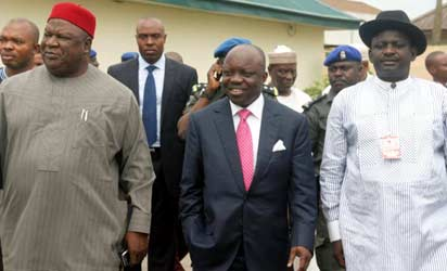From left: Secretary to the Government of  the Federation, Senator Anyim Pius Anyim; Governor Emmanuel Uduaghan of Delta State and President of the Nigerian Guild of Editors, Mr. Femi Adesina on arrival to the opening ceremony of the 9th Nigerian Guild of Editors' Conference held at the Event Centre, Asaba, Delta State, yesterday. Photos:Henry Unini.
