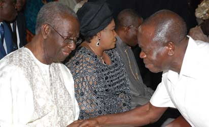 From right: President Goodluck Jonathan right his wife Dame Patience Jonathan chief Tony Anenih his wife Patricia and Gov. Adam Oshiomhole of Edo state, at Chief  Tony  Anenih Thanks 80th birthday  Giving Church Service  in Abuja ON SUNDAY 4th Augut 2013