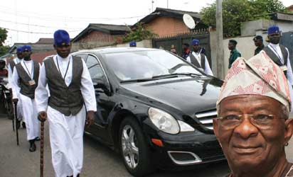 MIC Undertakers escorting the vehicle that carries the body  Late Pa Ibrahim Ademola Bayo Fashola, father of Mr Babatunde Raji Fashola, Lagos State governor during for the burial in in Lagos yesterday   Photo by Adekunle Aliyu and  Biodun Ogunleye