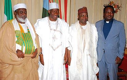 *SALLAH:  President Goodluck Jonathan 2nd left Vice President Arc. Namadi Sambo 2nd right Chief Imam of  Abuja Sheik Musa  Mohammed left, and  FCT