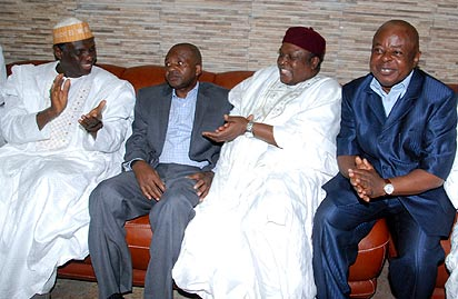* L-R;  Prof. Jerry  Gana, Taraba State Governor Danbaba Suntai, Minister of State for Niger Delta Affairs Arc. Darius Ishaku,and Former Minister of Water Resources Mr. Obadiah Ando, during the Arrival  of the Danbaba Suntai  at  the Nnamdi Azikiwe International Airport Abuja. 25/08/2013. Photo by Abayomi Adeshida