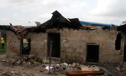 The burnt building. Photo :Joe Akintola. Photo Editor.