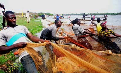 FISHERMEN DRAGGING THEIR NET DURING NWONYO FISHING AND CULTURAL FESTIVAL, IBI, TARABA STATE