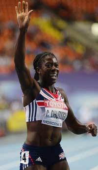 CHAMPION STUFF......Britain's Christine Ohuruogu celebrates after winning the 400m final  at the Luzhniki stadium in Moscow on August 12. PHOTO: AFP