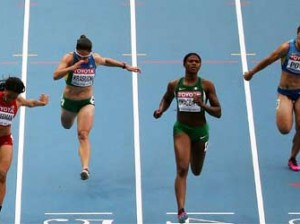 Nigeria's Blessing Okagbare (2nd-R) wins heat 1 during the women's 100 metres semi-final at the 2013 IAAF World Championships at the Luzhniki stadium in Moscow on August 12, 2013. AFP PHOTO