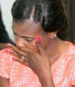 Blessing Okabere crying