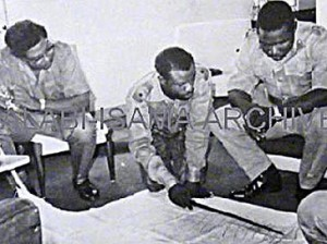 Col. Obasanjo (right) gets briefed on 3MCDO situation by Alabi-Isama. Right is Col (Father) Pedro Martins