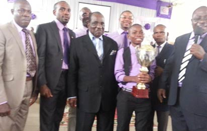 R-L, Dr. A.I.R. Umondia, Lagos Area Coordinator, Master Joseph Ibanga, Winner of the 2013 Youth Bible Challenge competition, Bishop Ntigha, second row – Pastor Daniel Ekanem, LAYA Coordinator and other Ministers at the event