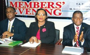 NCRIB MEMBERS EVENING: From left: Deputy President, Nigerian Council of Registered Insurance Brokers (NCRIB), Mr.  Ayodapo Shoderu; President, NCRIB, Laide Osijo and Group Managing Director, Cornerstone Insurance Plc, Mr. Ganiyu Musa at the August 2013 edition of NCRIB Members' Evening, hosted by Cornerstone Insurance Plc, in Lagos.