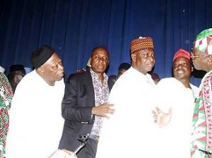 New PDP Faction:  From Left, New National Secretary and Former Governor of Osun State Olagunsoye Oyinlola, Former Nasarawa State Governor Abdullahi Adamu, Kwara State Governor Dr. Abdulfatah Ahmed, Rivers State Governor  Rotimi Amechi , New PDP Factional National Chairman Abubakar Kawu Baraje, Kano State Governor Rabiu Kawankwazo  and Jigawa State Governor Sule Lamido at Press conference announcing new PDP  Factional Leadership in Abuja.   Photo by Gbemiga Olamikan.