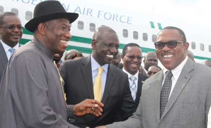 President Goodluck Jonathan, GCFR (left), introducing Gov. Peter Obi (right), to the Deputy President of Kenya, WilliamSamoei Ruto (middle), during his State visit to Kenya, which ended today