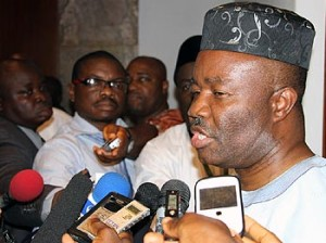 Chairman PDP Governors' Forum, Governor Godswill Akpabio of Akwa Ibom State briefing State Houyse Correspondents on the meeting between President Goodluck Jonathan and the aggreived PDP Governors at the State House, Abuja. Photo by Abayomi Adeshida