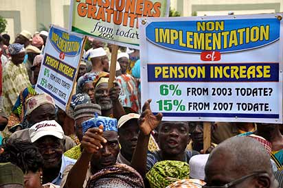 Pix: A Protest by Nigeria Union of Pensioners, Lagos state, on non payment of Pensioners arrears and gratuities by Lagos state Government, at Lagos House, Alausa, Ikeja. Photo: Bunmi Azeez