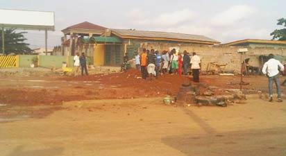 Pipeline vandalism site along LASU-Isheri Road, Egbe-Idimu Local Council Development Area, LCDA.