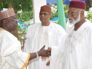 The Governor of Niger State Dr. Mu'azu Babangida Aliyu[left] welcoming Generals Ibrahim Babangida and Abdulsalami Abubakar to his residence during a Sallah homage to the governor at his residence,in Minna.