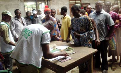 Voting in session at Ophori-Olomu.during the election. Photo: Akpokona Omafuaire.
