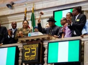 President Goodluck Jonathan at famous Wall Street on Monday, September 23, 2013, closing the bell of the New York Stock Exchange (NYSE)