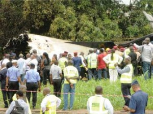 TRAGEDY—The crash scene and rescue operations.