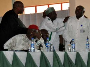 Col Tony Nyiam (rtd),   shouing at Governor Adams Oshiomhole.