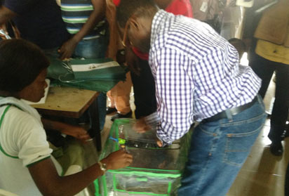 *Delta State Deputy Governor, Prof. Amos Utuama, casting his vote during the election, yesterday