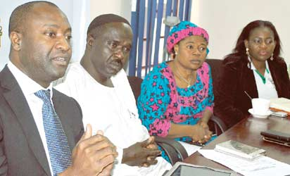 Chairman, National Academicals Sports Committee (NASCOM), Yemi Idowu; President, Nigeria School Sports Federation (NSSF), Ibrahim Muhammad; Deputy Director, School Sports, Federal Ministry of Education, Victoria Kayode and NSSF Secretary, Olabisi Joseph during the unveiling of NASCOM calendar for 2013/2014 in Lagos