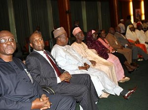 A cross section of members of the Presidential Advisory Committee on the National Conference during the inauguration of the Committee at the State House, Abuja. Photo: Abayomi Adeshida.