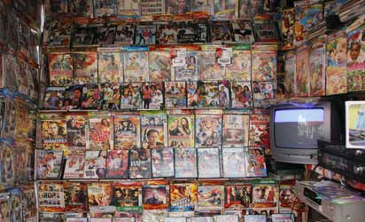 """DVDs for sale are pictured in a store on September 24, 2013 in Accra. The new film by Ghanaian-Nigerian director Pascal Amanfo """"Boko Haram"""" has been banned by censors in Ghana and shunned by cinema owners in Nigeria. AFP PHOTO"""