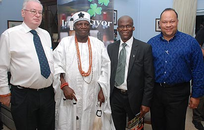 *From left:  Patrick Fay, Irish Ambassador to Nigeria; HRH Oba Dr Olurotimi Fagbenro; the Oloke Odan of Oke-Odan;  Rotimi Adebari, the first elected black African Mayor in Ireland and  Victor Oladokun, 3D Global Leadership, at the recently launched Irish Mayor Liqueur in Abuja.