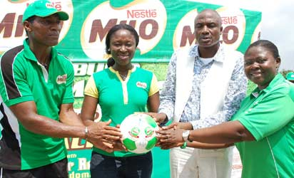 eter Rufai (l-r) initiator Milo Football Clinic, Adedoja Ekeruche, Category Business Manager breverages, Alhaji Alhassan Yakmut, Director Grassroot Sport Development with Funmi Osineye, Brand Manager Milo at the Nestle Milo Football Clinic season four event at Old Parade Sport Complex, Abuja.