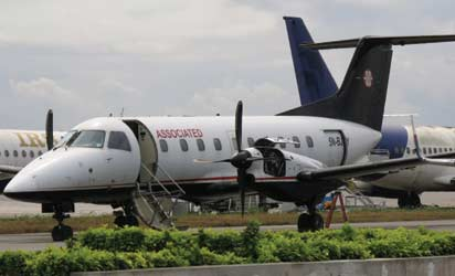 the ill-fated plane: The Embraer 120RT Brasilia, registration number 5N-BJY, before it crashed yesterday.