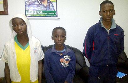 *would-be stowaways: From left— Onyedikachi Ukpabio 14; Lateef Popoola 13, and Joshua Amadi, 14.