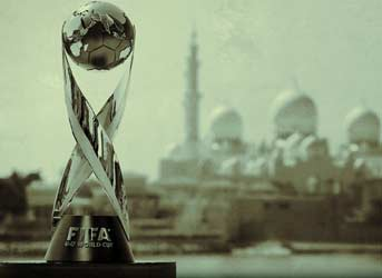 A view of the U17 World Cup Trophy with the Sheikh Zayed Grand Mosque in the background on October 16, 2013 in Abu Dhabi, United Arab Emirates. Photo FIFA/FIFA