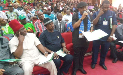 Senator Dr Chris Ngige, APC gubernatorial candidate for Anambra State elections protesting the attack of his campaign vehicles  and seizure of two  in Agulu, Obi's home town and disruption if his campaigns to the Inspection General of Police ad the Chairman of INEC in a stakeholder's meeting held in Awka , before the election.