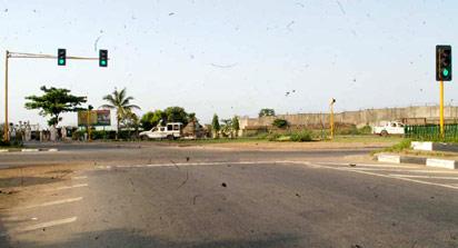 *The newly installed traffic signals under test run