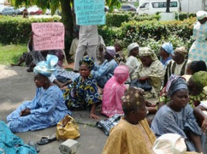 The protesting pensioners, yesterday.