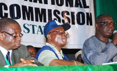 ANAMBRA RESULT—From Left: Inec Resident Electoral Commissioner for  Anambra, Prof. Emeka Onukaoga; Head of Operations, Inec, Anambra, Mr Okon Ewa and Returning Officer for 2013 Anambra  Governorship Election, Prof. James Epoke during the announcement of result at Awka, Anambra State, yesterday.