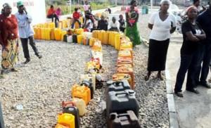 WAITING: Queue for kerosene at a Nigerian National Petroleum Corporation, NNPC, Mega Filling Station in Yelwa, Bauchi State, yesterday. NAN PHOTO.