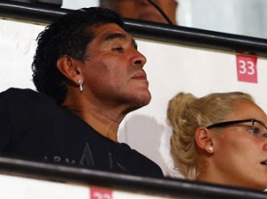 ALL FOR EAGLETS — Diego Armando Maradona looks on during the FIFA U-17 World Cup UAE 2013 Semi Final match between Sweden and Nigeria at Al Rashid Stadium yesterday.